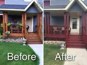 restained diy cedar deck porch  cabot gold fireside