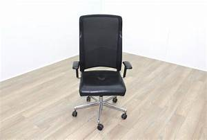 Interstuhl, Black, Leather, Seat, Operator, Chair, High, Back, -, Black