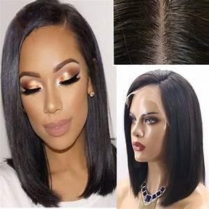 Raie Sur Le Coté Homme : 10 perruque lace wig cheveux humains naturels br siliens bob raie c t lace front wig lisse ~ Melissatoandfro.com Idées de Décoration
