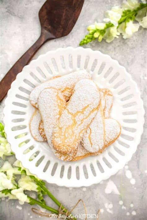 * 2 tablespoons butter * 3/4 cup plus 2 tablespoons sifted flour * 4 egg yolks * 1/2 cup sugar * 4 egg whites, beaten until stiff * pinch of salt * 1 teaspoon vanilla * powdered sugar for. Lady Finger Cookies   Recipe   Food, Dessert for dinner, Easy meals
