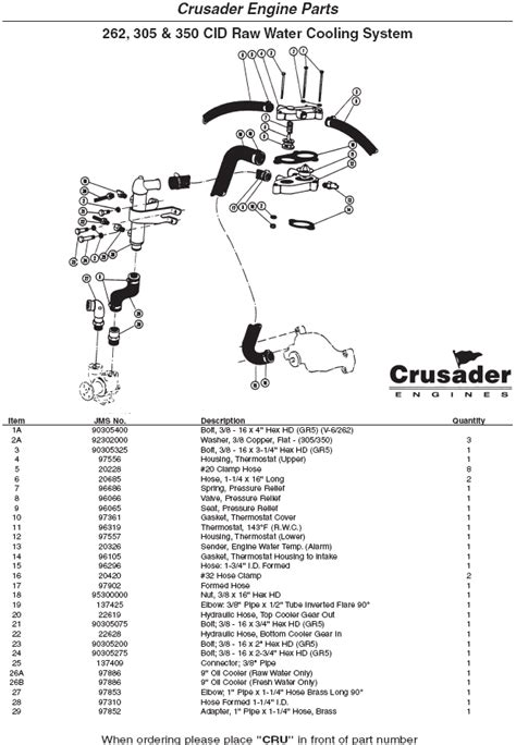 Crusader Fuel Wiring Diagram by Crusader Engine Parts Water Cooling System