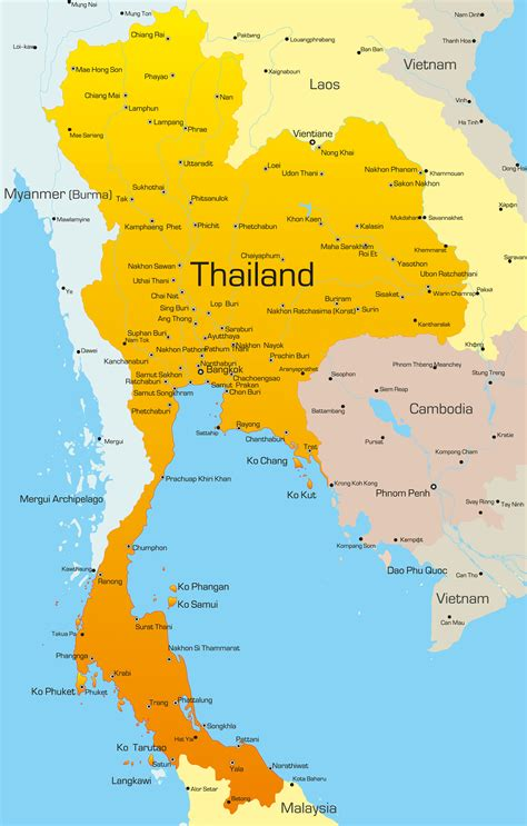 thailand map guide   world