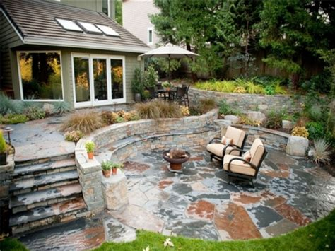 outdoor patio designs with pit rustic patio