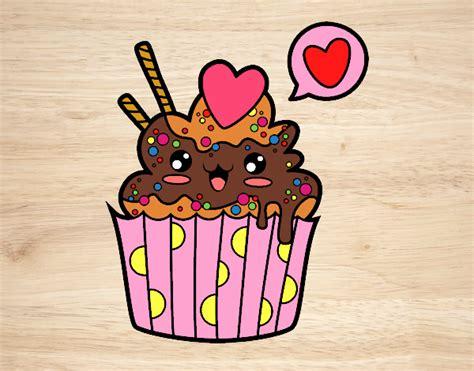 Desenho De Cupcake Kawaii Pintado E Colorido Por Imshampoo