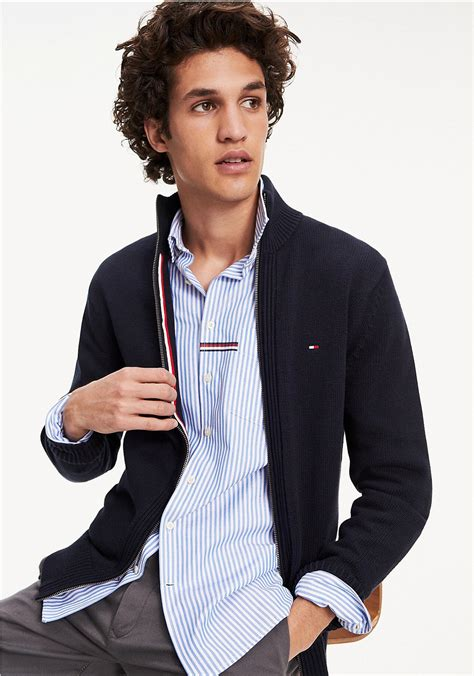 tommy hilfiger chunky cotton zip sweater navy mcelhinneys