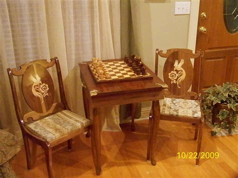 walnut chess table and chairs by poppatom lumberjocks