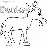 Donkey Coloring Printable Sheets Animal Donkeys sketch template