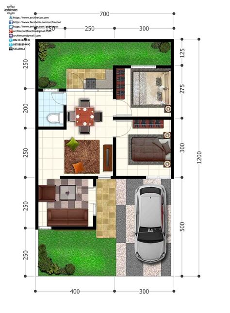perumahan green land villa denah type  perumahan