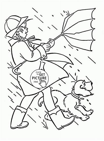 Windy Coloring Rainy Pages Seasons Spring Printables