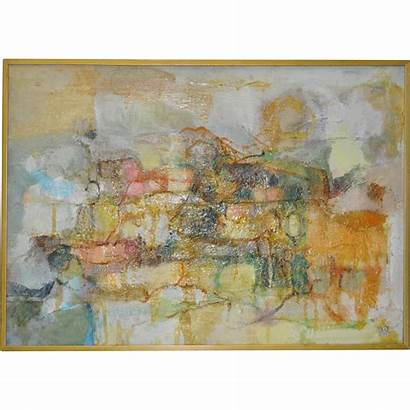 Abstract Oil Painting 1960 Canvas Antique Lane