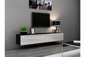 Meuble Sous Tv Suspendu : meuble tv design suspendu vito 180cm chloe design ~ Teatrodelosmanantiales.com Idées de Décoration