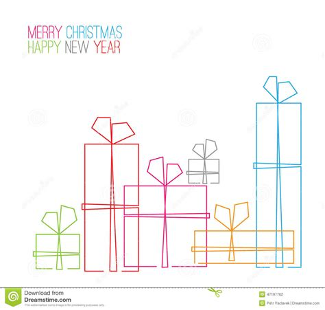 vector christmas card continuous  drawing stock