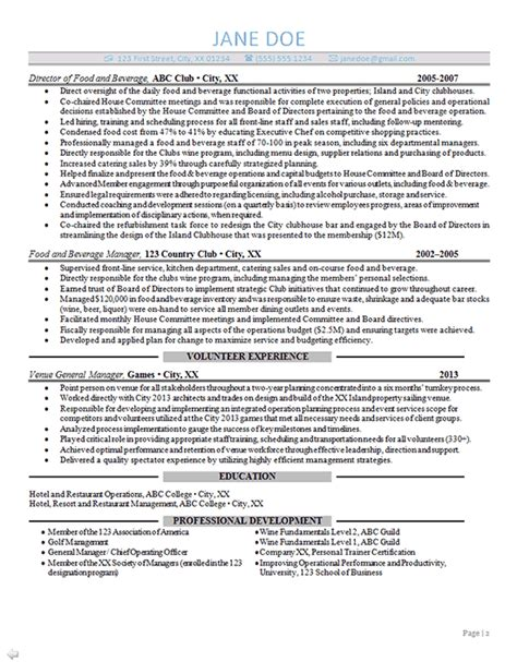 General Manager Resume by General Manager Resume Exle Sports Club Management