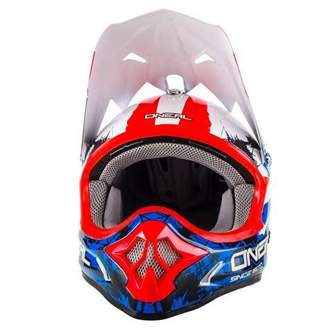 blue motocross helmet oneal new 2017 mx 3 series shocker dirt bike black red