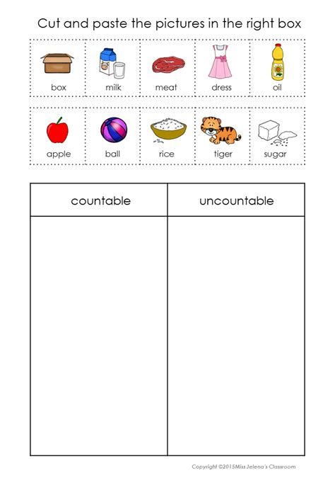 countable and uncountable nouns sorting set tpt cut and