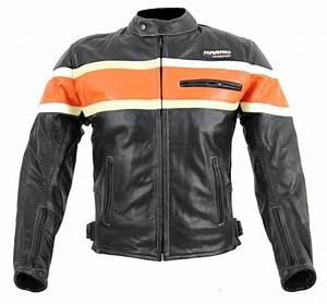 Blouson De Moto : kc011 blouson moto chopper karno motorsport cuir noir orange biker usa style vetement moto ~ Medecine-chirurgie-esthetiques.com Avis de Voitures