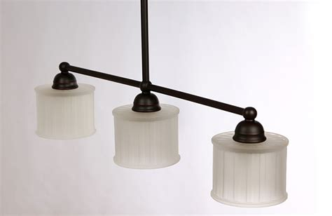 Drum Shade 3 Light Linear Chandelier Black Iron Arms