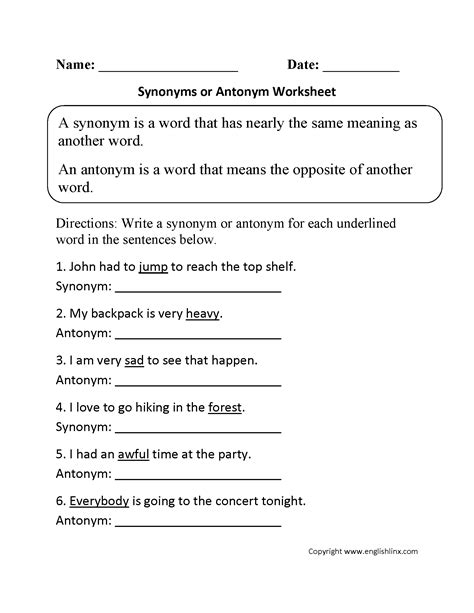 17 Best Images Of Antonyms And Synonyms Worksheets 2nd Grade  Synonym And Antonym Worksheets