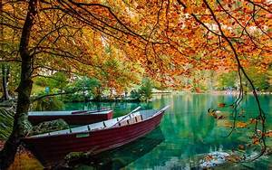 Nature, Landscape, Lake, Trees, Boat, Leaves, Fall, Green, Water, Wallpapers, Hd, Desktop, And