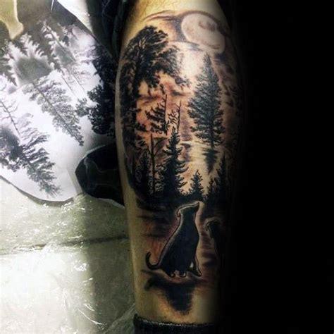 men leg  wild forest trees  dog memorial tattoo