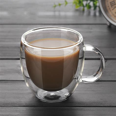 Heat resistant double wall glass coffee / tea cups and mugs with the handle. 250ml 90ml Double coffee Mugs With the handle Mugs drinking Insulation double wall glass tea cup ...