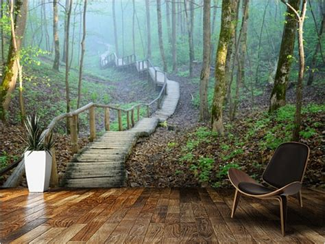 custom natural wallpaper foggy forest stairwayd modern