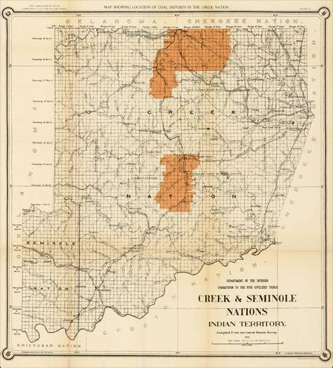 map of the creek seminole nations indian territory 1899 barry ruderman