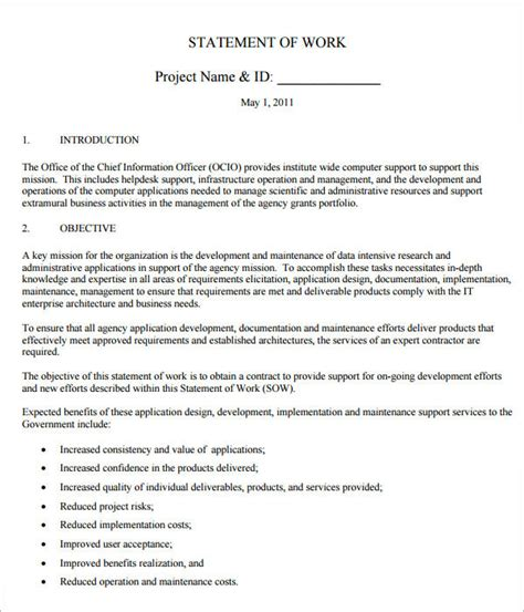 Statement Of Works Template by 13 Statement Of Work Templates Sle Templates