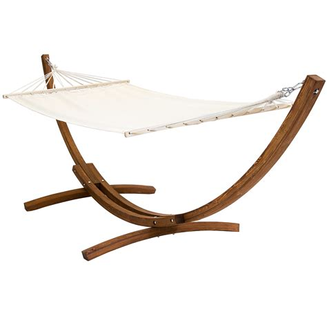 Hammock Uk by Free Standing Canvas Garden Hammock With Wooden Arc Stand