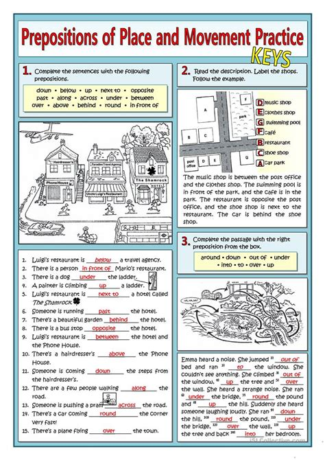 Prepositions Of Place And Movement Practice Worksheet  Free Esl Printable Worksheets Made By