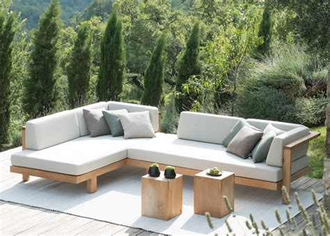 modern outdoor loveseat tribu corner garden sofa tribu furniture at go modern