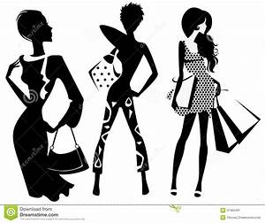 Silhouette Of Fashion Girl With Bags Stock Vector ...