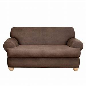 Sure fit stretch leather 2 piece t sofa slipcover brown for 2 piece sectional sofa slipcover