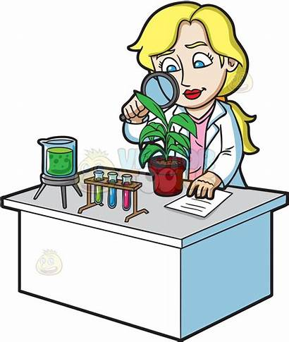 Clipart Studying Scientist Female Plants Scientists Glass