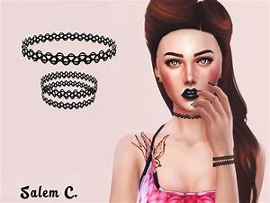 The Sims Resource: Tattoo Choker and Bracelet • Sims 4