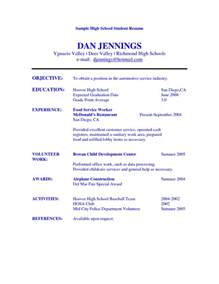 resumes for highschool students doc 612792 exle resume resumes templates for high students bizdoska com