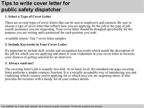 safety dispatcher cover letter