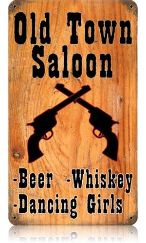town saloon vintage metal sign