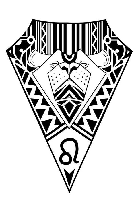 Leo zodiac sign tribal tattoo design by elenoosh