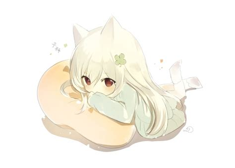 wallpaper anime girl chibi cute animal ears pillow