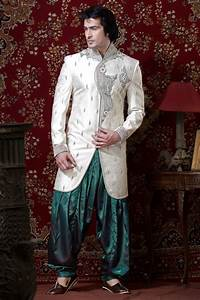 White and green indian traditional mens wedding dress for How to dress for a wedding men