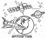 Space Coloring Nasa Solar Drawing Earth Satellite System Skylab Orbit Planet Printable Astronaut Sketch Simple Learning Spaceman Science Cartoon Observatory sketch template