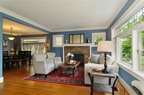 craftsman style windows Living Room Craftsman with blue