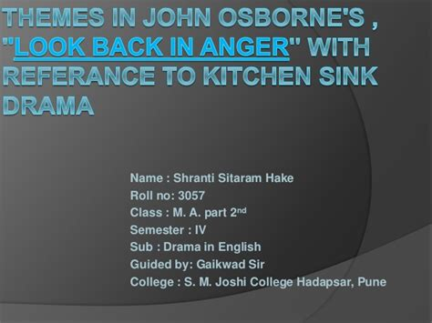 themes in john osborne s look back in anger
