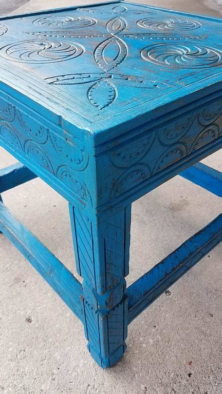 turquoise side table moroccan aged cedar wood side table turquoise for 2971