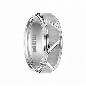 blaine white tungsten wedding band with etched finish With triton tungsten wedding rings