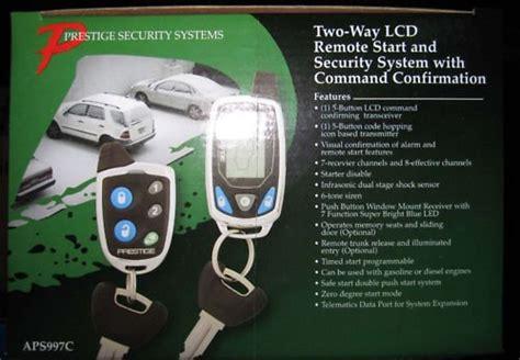 audiovox aps997c car prestige 2 way remote start keyless entry and security system alarm