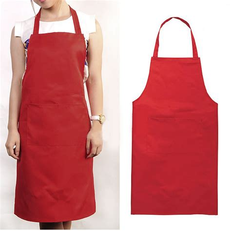 Kitchen Aprons by Unisex Kitchen Restaurant Solid Apron Bib Pocket