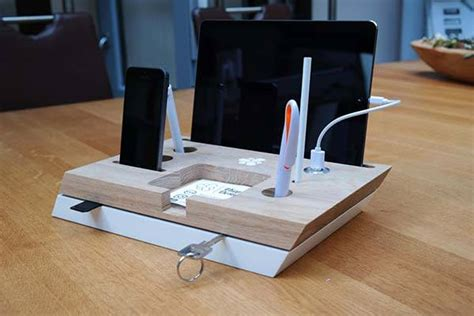 desk l with charging station handmade desk organizer with integrated charging station