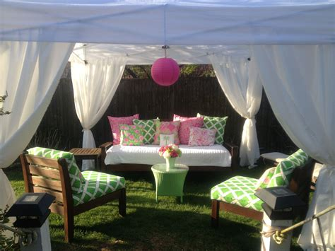 added fabric  curtains   simple ez  tent  covered cushions   pink  green